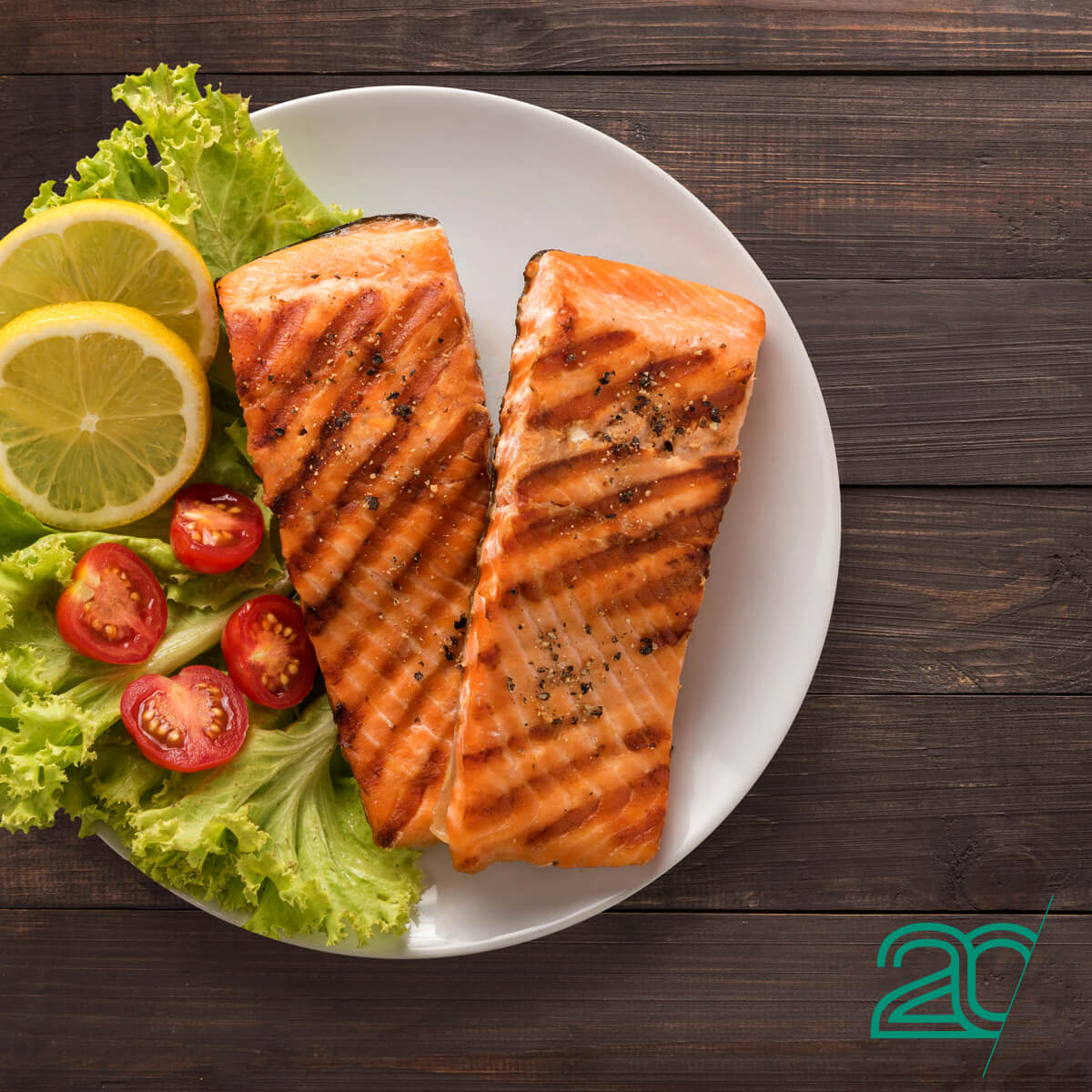 A Grilled Salmon Plate, Part of 20PerFit Anti-Inflammatory Diet