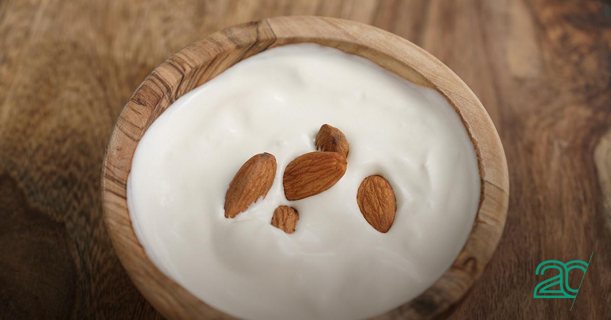 Greek Yogurt with Almonds on Top
